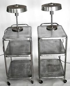 Mid Century Stainless Steel Industrial Pair Of Side Table Cart Bar Night Stand