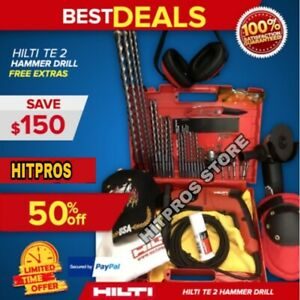 Hilti Te 2 Hammer Drill New Free Grinder Bits A Lot Of Extras Fast Ship