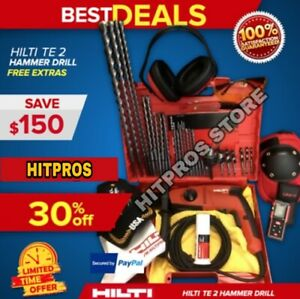 Hilti Te 2 Drill New Free Laser Meter Bits A Lot Of Extras Fast Ship