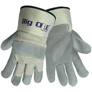 Global Glove Big Ole Split Leather Palm Gloves Canvas Back With Kevlar L 2xl