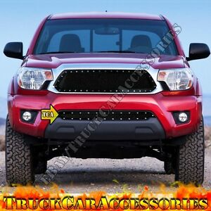 For Toyota Tacoma 2012 2015 Black Mesh Rivet Overlay Lower Bumper Grille 1pc Usa