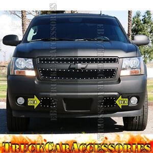 For Chevy Tahoe 2007 2014 Tow Hook Bumper Black Mesh Rivet Overlay Grille 2pc