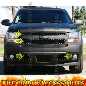 For Chevy Tahoe 2007 2013 2014 3pc Black Mesh Rivet Grille Combo Upper Tow Hooks