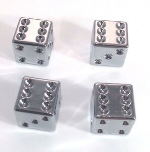 Chrome Dice Tire Valve Stem Caps Covers Set Of 4 Car Truck Hot Rod Rat Rod