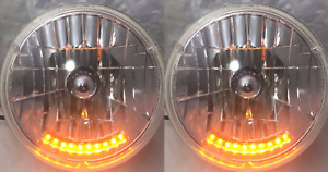 Pair 7 Crystal Headlights Lamps With 10 Led Amber Marker Turn Signal Lights 2