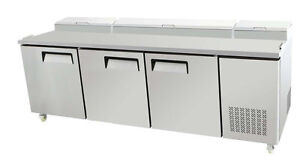 Select 93 3 Door Pizza Prep Table Refrigerated W Casters Pans