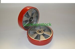 Pair Of Brand New Pallet Jack Steer Wheels Poly Aluminium 8 X 2 W bearings