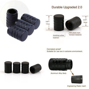Godeson Black Car Tire Valve Stems Caps With Plastic Insert Knurling Style