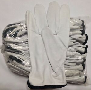 12 Pair Pack Goat Skin Grain Leather Drivers Work Safety Gloves ppe Size M