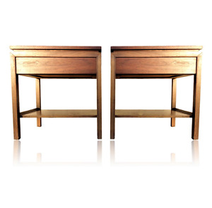 Vintage Pair Mid Century Modern Nightstands End Tables Danish Style Drawer Shelf