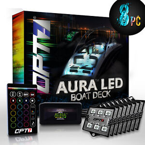 Aura Led 8pc Boat Interior Lighting Kit With Multi color Light Features remote