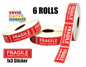 6000 6 Rolls 1 X 3 Inch Fragile Handle With Care Shipping Box Sticker Labels