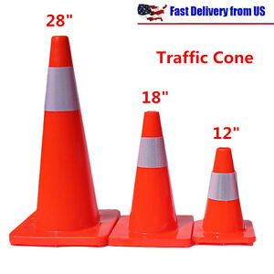 12 18 28 Traffic Cones Fluorescent Red Reflective Road Safety Parking Cones