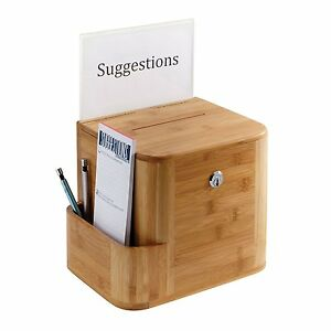 Safco Products Bamboo Lockable Suggestion Box In Natural Finish 4237na New