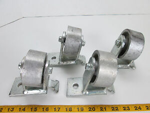 Lot Of 4 Heavy Duty Steel Casters W 3 x1 3 8 Steel Wheels Fixed Angled Angle T
