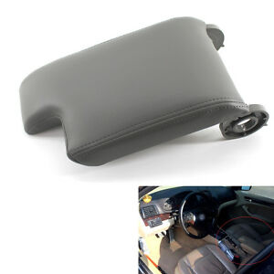 Center Armrest Cover Console Lid Gray For Bmw E46 98 06 Fiber Leather Plastic
