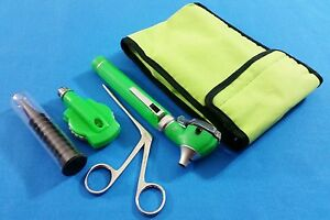 Green Fiber Optic Otoscope Ophthalmoscope Led Diagnostic alligator Ent Forceps