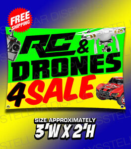 Rc Drones 4 Sale Hobby Shop Toy Gift Banner Poster Displays Open Business Sign