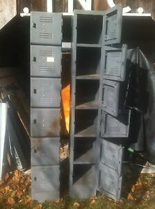 Vintage 6 Door Stacking Locking Metal Locker By Equipto Sports Storage Box
