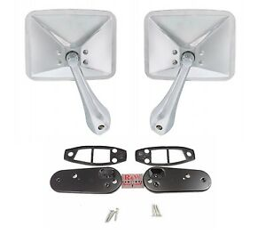 Pair Square Rectangle Chrome Outside Rearview Door Mirrors 1970 1972 Chevy Truck