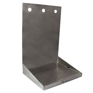 Kegco Sewm 1210 3 12 X 10 Wall Mount Drip Tray With Drain 3 Shank Holes