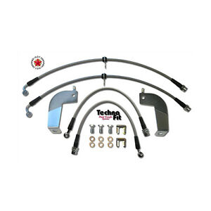 Front Rear Techna Fit Stainless Steel Braided Brake Lines Set Must 1110