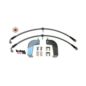 Stainless Steel Braided Brake Lines Rear Techna Fit Set Fits Mustang Must 1110rr