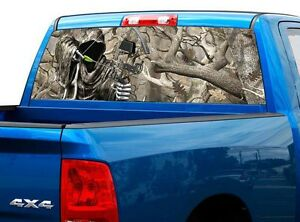 P453 Camo Reaper Bow Rear Window Tint Graphic Decal Wrap Back Truck Tailgate