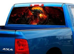 P500 Dragon Rear Window Tint Graphic Decal Wrap Back Truck Tailgate
