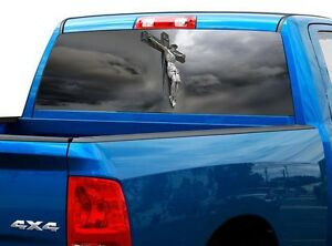 P522 Jesus Cross God Rear Window Tint Graphic Decal Wrap Back Truck Tailgate