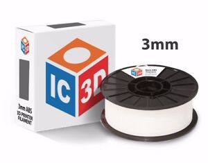 Ic3d 3mm 2 2lb 1kg White Abs 3d Printer Filament Made In Usa