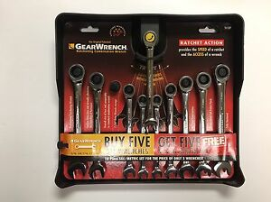 Gearwrench 10 Piece Ratcheting Combination Wrench Set Metric Sae