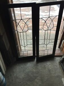 Sg 990 Match Pair Antique Beveled Leaded Glass Cabinet Doors
