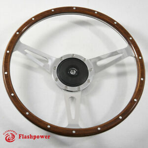 15 Classic Wood Steering Wheel Riveted Vintage Ford Mustang Shelby Ac Cobra