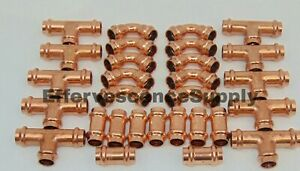 lot Of 30 1 2 Propress Copper Fittings tees Elbows Coupling Press Fittings