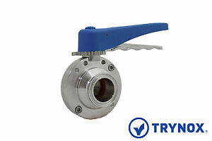 1 Sanitary Butterfly Valve Clamp Ends Viton Seal 304 Stainless Steel Trynox