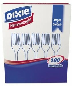 Dixie Plastic Cutlery Heavyweight Forks white 100 Per Box 1 000 Ct dixie