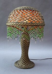 1910 Antique Arts Crafts Wicker Table Lamp Vintage Light Craftsman 9875