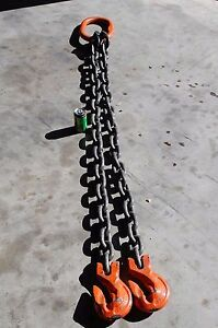 Pewag Grade 100 3 4 x72 2 leg Double Sling Chain Wll 61100lb Clevis Hook
