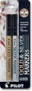 Pilot Gold And Silver Metallic Permanent Paint Markers Extra Fine Point
