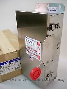 Eaton Stainless Dh362fwk 60a 600v Fused Safety Switch 18 Available New