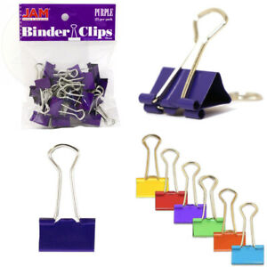 Jam Paper Binder Clips Small 19mm Purple Binderclips 25 pack