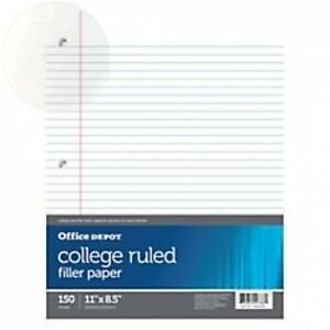 Office Depot Notebook Filler Paper College ruled 8 1 2in X 11in 3 hole New
