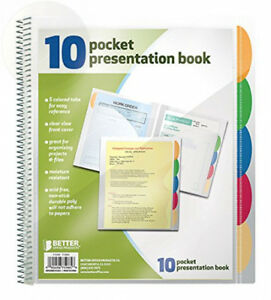 Better Office Products 10 Pocket Poly Presentation Folder With Tabs 2 Count