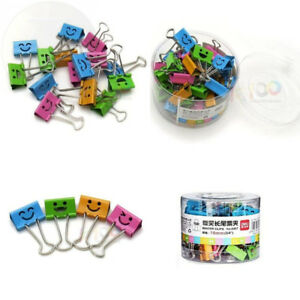 Smiling Binder Clips 19mm assorted Colors 40 Per Tub