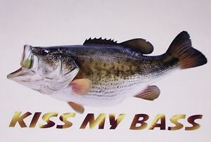 Kiss My Bass Fish Decal Window Decals Boat Sticker Fishing