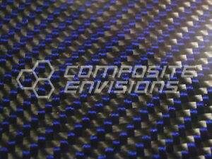 Carbon Fiber Panel Made With Kevlar Blue 056 1 4mm 2x2 Twill epoxy 12 x24