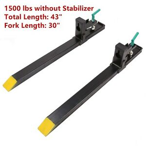 Hd 43 60 1500lbs Clamp On Pallet Forks Loader Bucket Tractor Chain Skidsteer