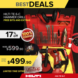 Hilti Te 6 c Hammer Drill Preowned Free Thermo Extras Bits Fast Ship