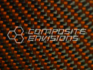 Carbon Fiber Panel Made With Kevlar Orange 122 3 1mm 2x2 Twill 12 x48